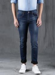 Blue Slim Fit Mid-Rise Low Distress Stretchable Jeans