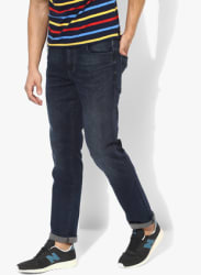 Navy Blue Washed Low Rise Slim Fit Jeans