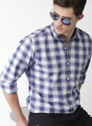 Purple Checked Casual Shirt
