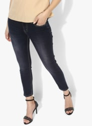 Navy Blue Washed Mid Rise Skinny Fit Jeans