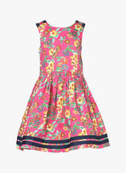 Pink Printed Round Neck Casual Dress
