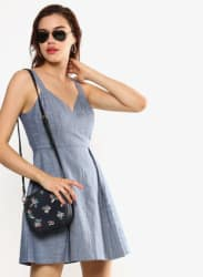 Grey Coloured Solid Shift Dress