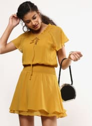 Mustard Yellow Coloured Solid Shift Dress