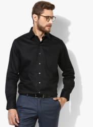 Black Checked Regular Fit Formal Shirt