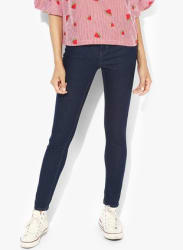 Navy Blue Solid High Rise Skinny Fit Jeans