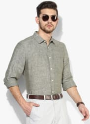 Olive Textured Regular Fit Casual Shirt