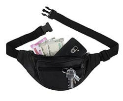 K London Stylish Real Leather Black Waist Bag Elegant Style Travel Pouch Passport Holder with Adjustable Strap(1240_Black)