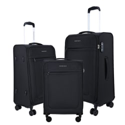 Nasher Miles Equator Pack of 3 Polyester 45cm, 57cm & 69 Cm Soft-sided Ultra-Light Black Luggage set