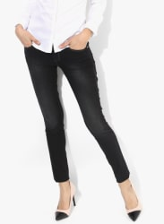 Black Washed Low Rise Skinny Fit Jeans