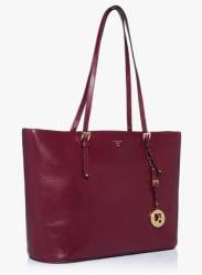 Berry Saffiano Leather Shoulder Bag