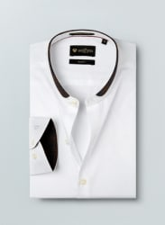 White Self Pattern Formal Shirt
