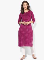 Khadi Printed Round Neck Straight Fit Kurta With 3/4Th Sleeves