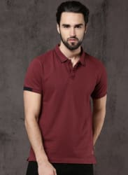 Maroon Solid Polo T-Shirt