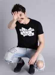 Black Printed Round Neck T-Shirt