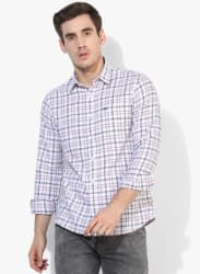 Off White Checked Slim Fit Casual Shirt