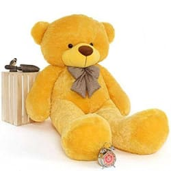 GURUDEV ToyHub Plush Extra Large Very Soft 5 Feet Lovable/Huggable/Spongy/Fluffy Teddy Bear with Neck Bow (152 cm, Yellow)