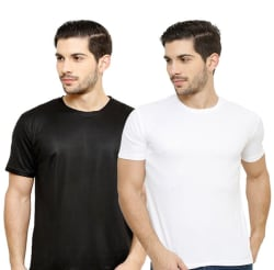 Grand Bear Black & White Dry-Fit Gymwear, Sportswear, Running T-Shirt (Pack of 2)
