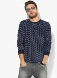 Navy Blue Printed Regular Fit Henley T-Shirt