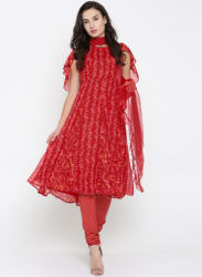 Red Printed Churidar Kameez Dupatta