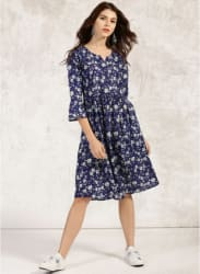Navy Blue & White Printed Kurta Dress