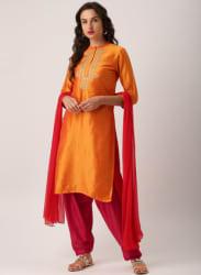 Orange Embroidered Salwar Kameez Dupatta