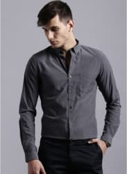 Charcoal Grey Solid Regular Fit Casual Shirt