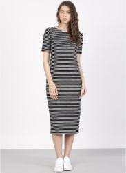Black Coloured Striped Shift Dress