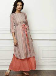 Beige & Coral Striped Kurta With Skirt