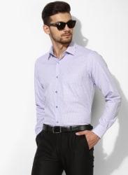Lavender Checked Regular Fit Formal Shirt