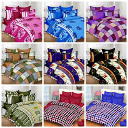 Exporthub Beautiful 100%Cotton Double Bed Florel Bedsheet With 2 Pillows Covers.
