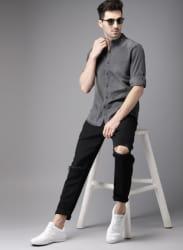 Charcoal Grey Regular Fit Faded Casual Shirt