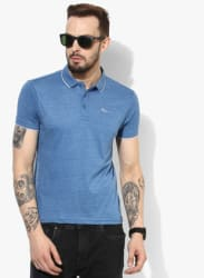 Blue Textured Regular Fit Polo T-Shirt