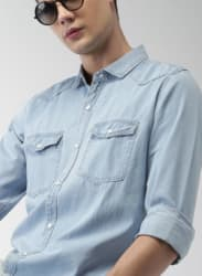 Blue Solid Casual Shirts