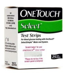 25 Test Strips for ONE TOUCH Select Simple Glucometer