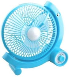 Rechargeable Fan With USB & LED Light (Multi Color)