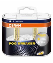 Osram H11 Fog Breaker 64211FBR-HCB Headlight Bulb (12V, 55W, 2 Bulbs)