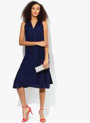 Navy Blue Coloured Solid Skater Dress
