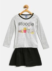 Grey Melange Printed Top Skirt