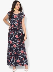 Navy Blue Coloured Printed Maxi Dress