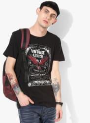 Black Printed Slim Fit Round Neck T-Shirt