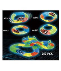 Jenil International 212 Pcs Magic Tracks DIY Luminous Cars Toy Set Glows in the Dark