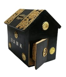 Craftatoz Black Wooden Money Bank For Kids