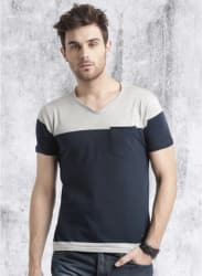 Navy Blue Solid Regular Fit V Neck T-Shirt