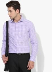 Lavender Checked Regular Fit Formal Shirt