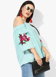 Turquoise Blue Striped Boxy Top