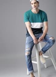 Blue Solid Round Neck T-Shirt