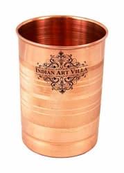 IndianArtVilla Copper Glass Tumbler, Drinkware, 300 ML