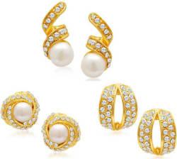 Sukkhi Divine Set of 3 Combo Alloy Earring Set