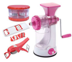 Premium Plastic Kitchen Tools Combo of Manual Juicer + 6 in 1 Slicer + Multi Crusher and Vegetable Cutter & Peeler