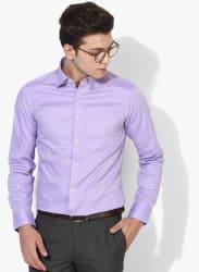 Purple Solid Regular Fit Formal Shirt